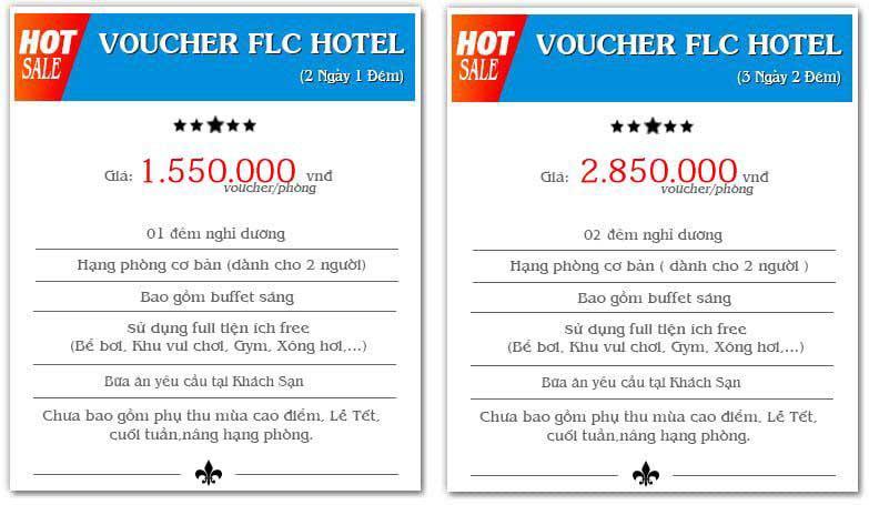 Voucher FLC 2020 / Voucher khách sạn 2 ngày 1 đêm / 3 ngày 2 đêm