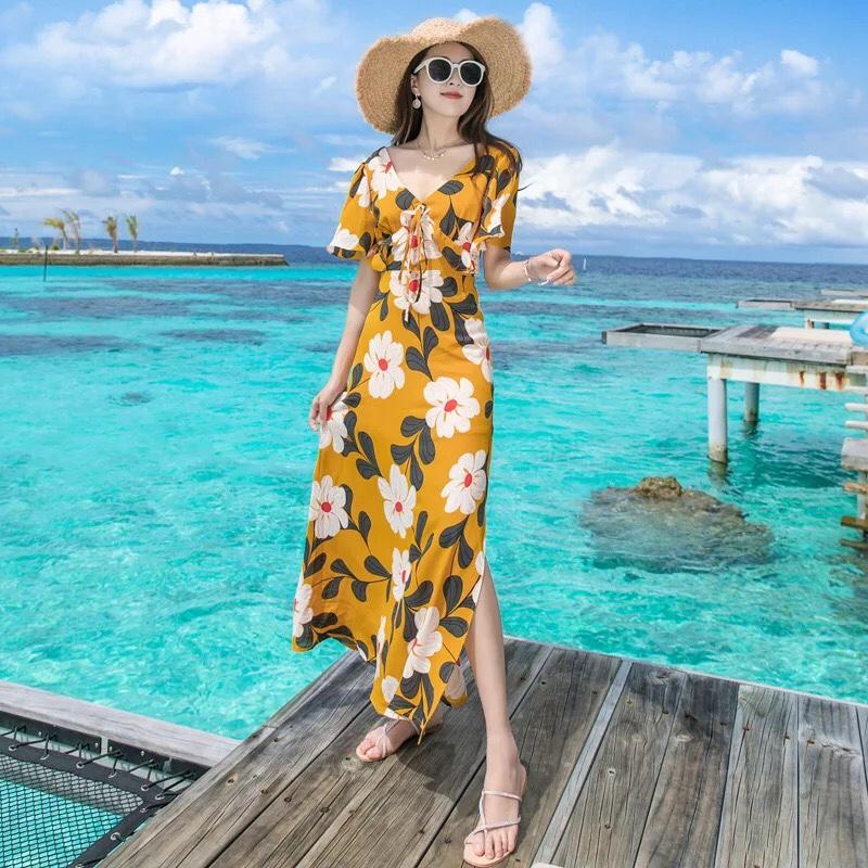 Đầm maxi đi biển - đi du lịch biển mặc gì đẹp