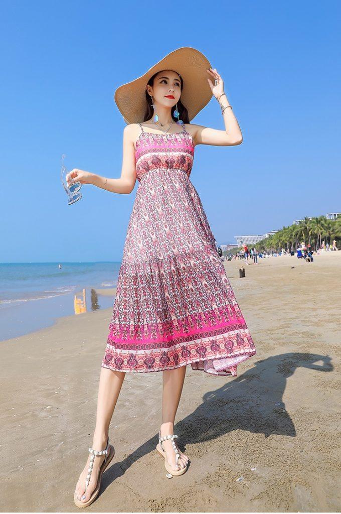 đầm đi biển họa tiết - đi du lịch biển mặc gì đẹp