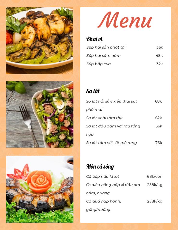 Menu Nhà hàng Hương Biển FLC Quy Nhơn