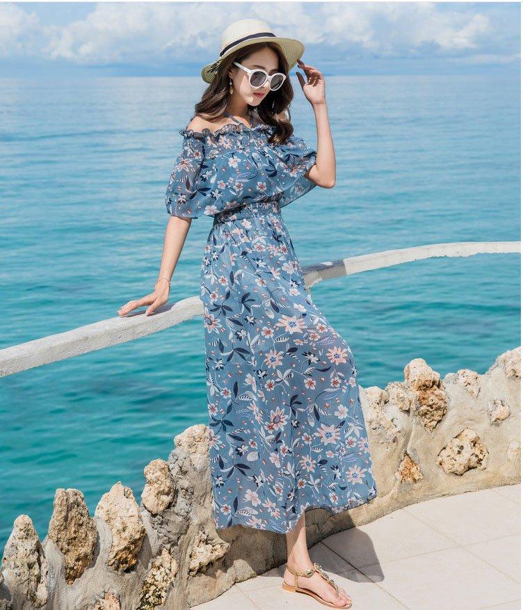 Váy maxi, áo họa tiết