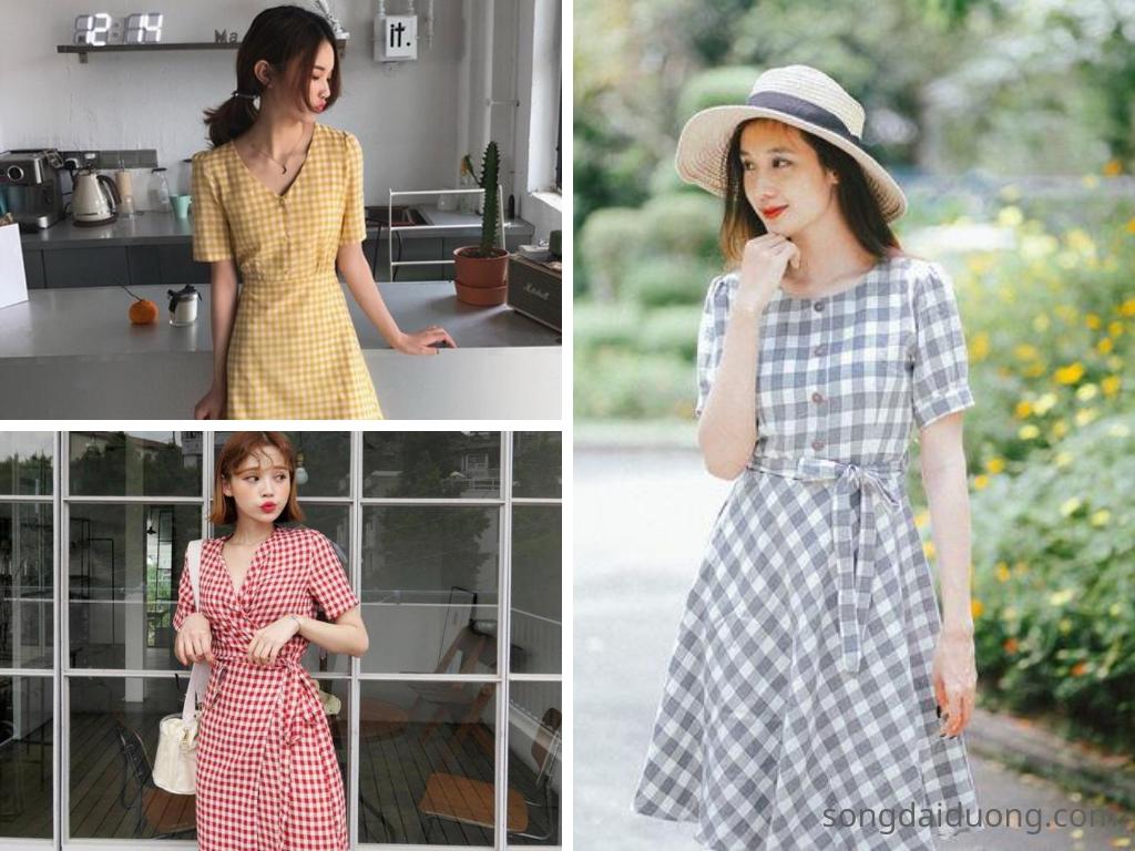 Váy kẻ caro - váy du lịch mùa hè